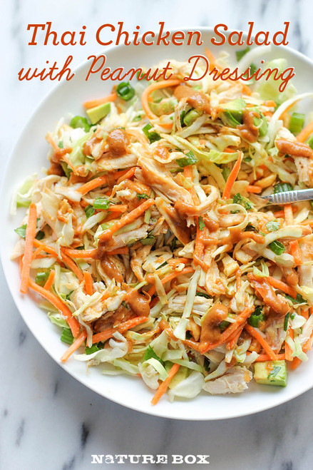 Thai Chicken Salad w/ Peanut Dressing - (Free Recipe below)