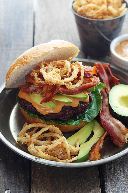 Western Bacon Burger w/ BBQ Mayo, Crispy Onion Strings - (Free Recipe below)