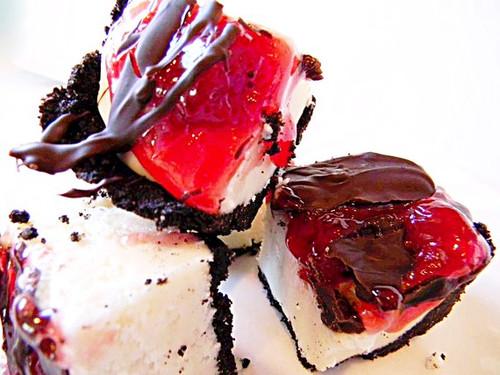 Chocolate Covered Cherry Cheesecake w/ Oreo Cookie Crust - One Dozen (over 1 pound)