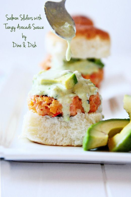 Salmon Sliders with Tangy Avocado Sauce - (Free Recipe below)