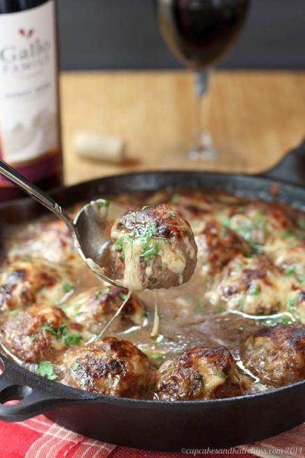 French Onion Soup au Gratin Stuffed Meatballs - (Free Recipe below)