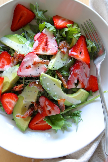Strawberry Avocado Kale Salad w/ Bacon Poppyseed Dressing - (Free Recipe below)
