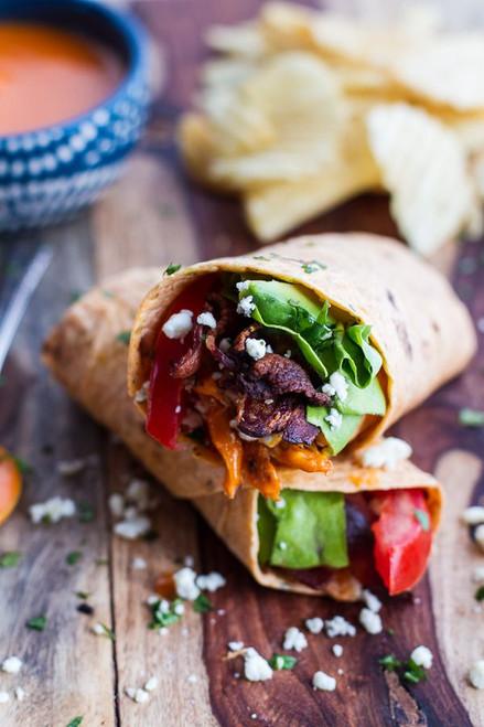Buffalo Chicken Avocado BLT Wraps - (Free Recipe below)