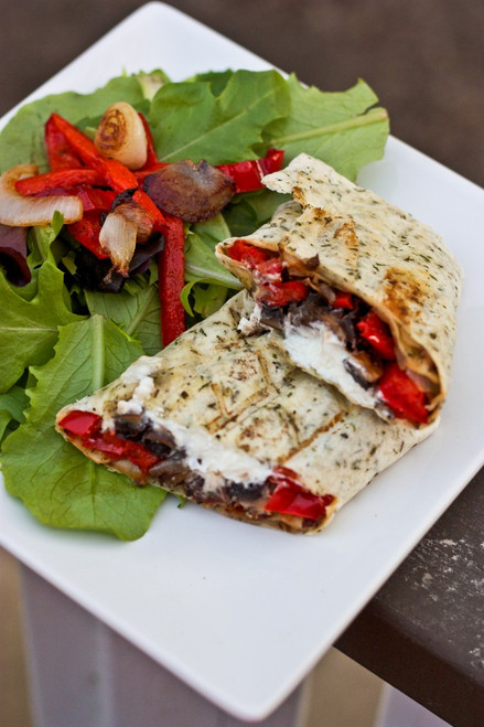 Grilled Portobello Mushroom, Roasted Red Pepper & Goat Cheese Wrap - (Free Recipe below)