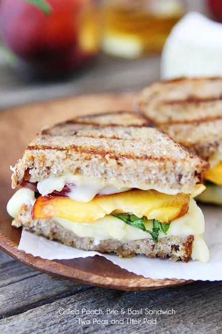 Grilled Peach, Brie & Basil Grilled Cheese Sandwich - (Free Recipe below)
