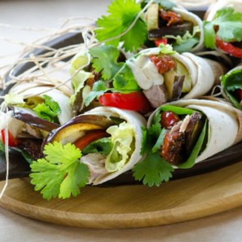 Tuna, Grilled Eggplant, Avocado & Sundried Tomatoes Wrap - (Free Recipe below)