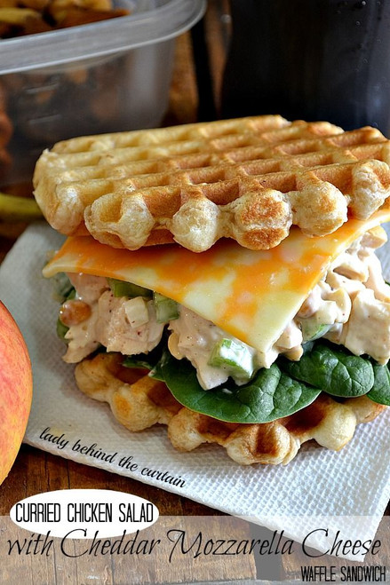 Curried Chicken Salad w/ Cheddar Cheese Waffle - (Free Recipe below)