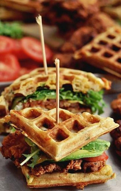 Fried Chicken & Waffle Sandwich - (Free Recipe below)