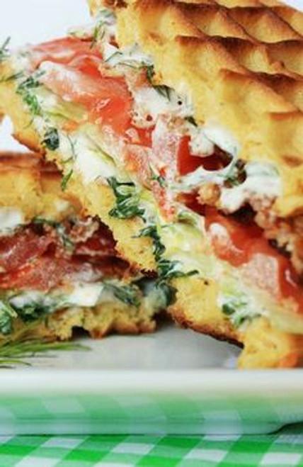 BLT Waffle Sandwich w/ Fresh Herb Spread - (Free Recipe below)