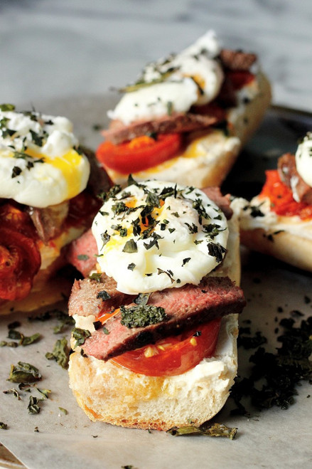 Steak, Egg, Goat Cheese Breakfast Bruschetta - (Free Recipe below)