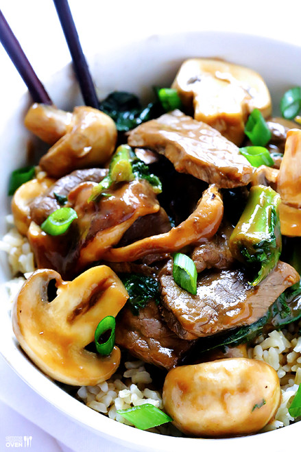 Ginger Beef, Mushroom & Kale Stir-Fry - (Free Recipe below)