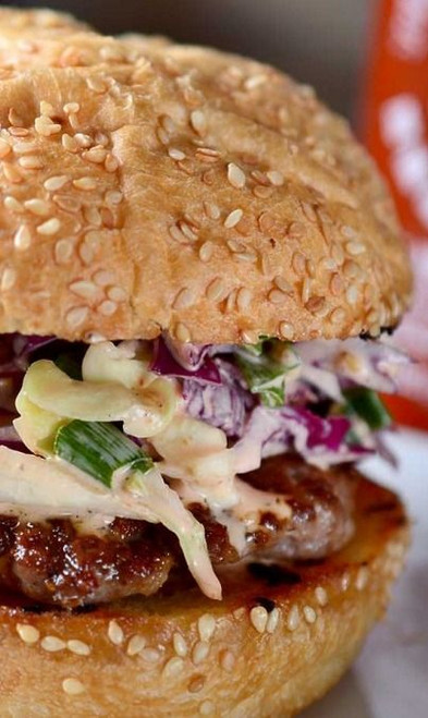Garlic & Black Pepper Pork Burgers w/ Sriracha Slaw - (Free Recipe below)