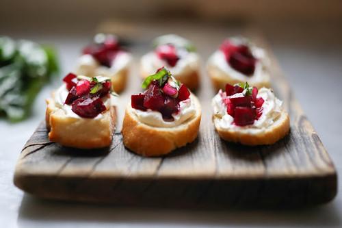 Beet and Goat Cheese Bruschetta with Basil - (Free Recipe below)