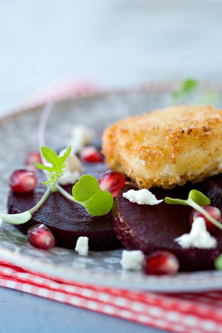Roasted Beet Salad with Crispy Goat Cheese - (Free Recipe below)