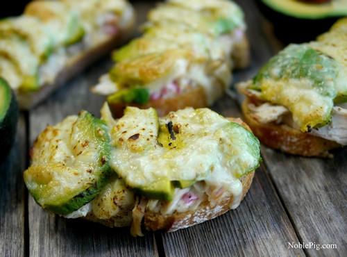 Chicken, Avocado & Cheese Bruschetta Melts - (Free Recipe below)