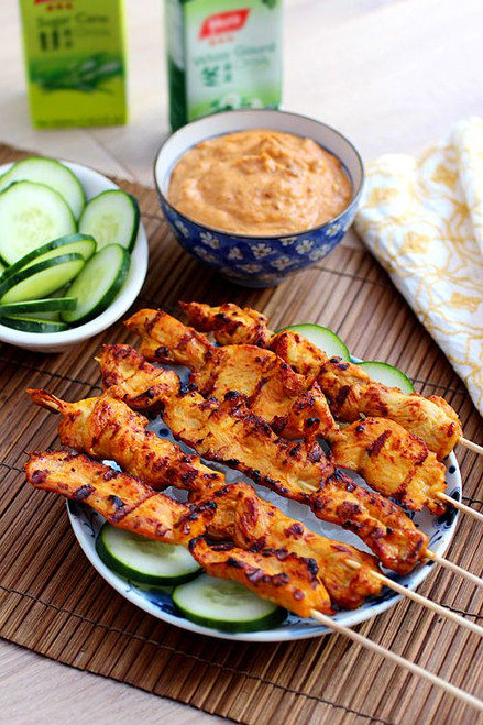 Thai Chicken Sate with Peanut Sauce - (Free Recipe below)
