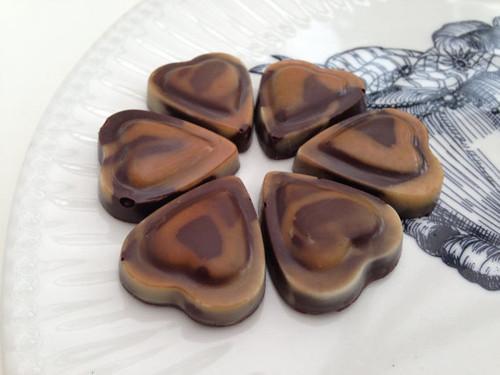 Chocolate Cappuccino Hearts - Luxury Treat - One Dozen