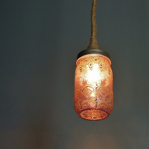 Lavender Glass Hanging Pendant Light