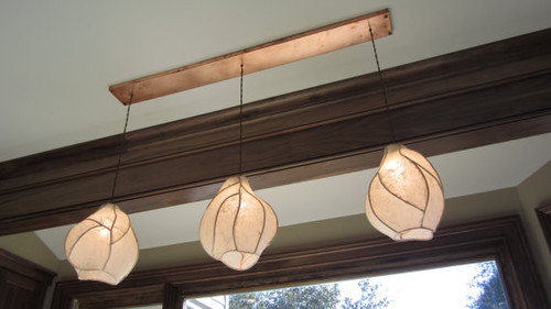 Custom Lantern Chandelier - Copper Sculpture and Paper Lanterns with Rectangular Copper Canopy