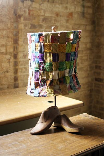 LAMP WITH RECYCLED WOVEN KANTHA FABRIC SHADE AND WOODEN SHOE MOLD BASE