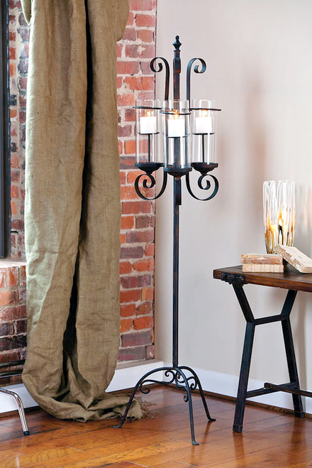 3 Cylinder Metal Floor Candle Holder