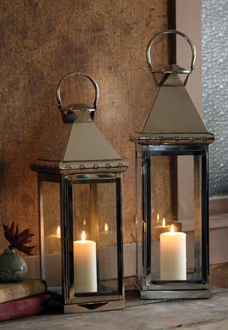 Set of 2 Tall Nickel Lanterns