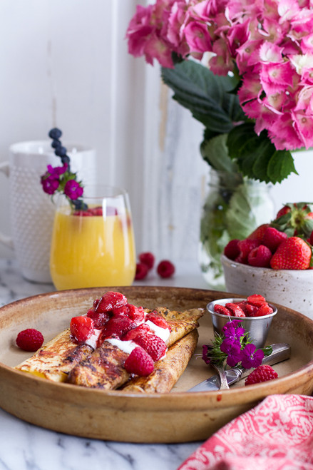 Lemon Ricotta Cheese Stuffed French Toast Crepes with Vanilla Stewed Strawberries - (Free Recipe below)