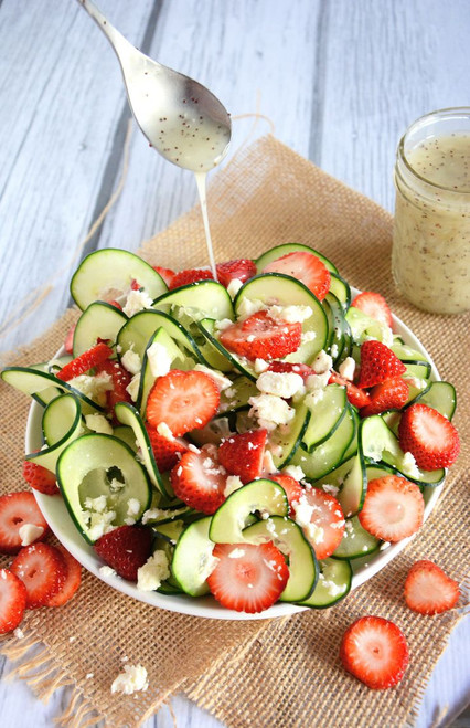 Cucumber and Strawberry Poppyseed Salad - (Free Recipe below)