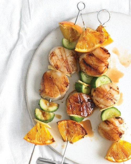Grilled Scallops with Orange and Cucumber Kebabs - (Free Recipe below)