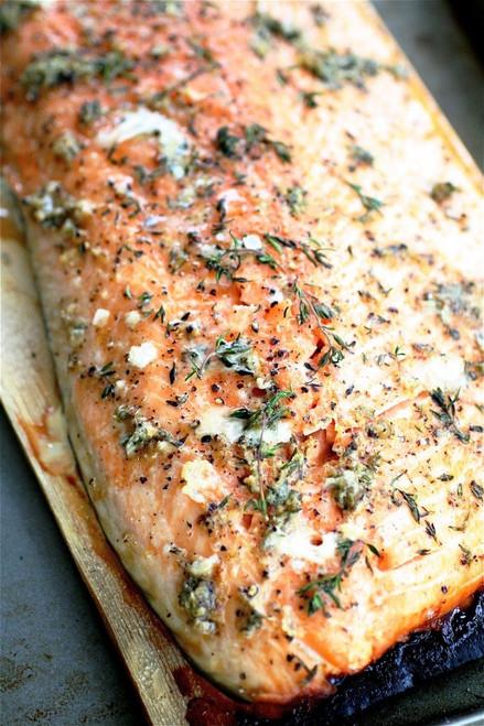 Cedar Planked Salmon with Horseradish Chive Sauce - (Free Recipe below)