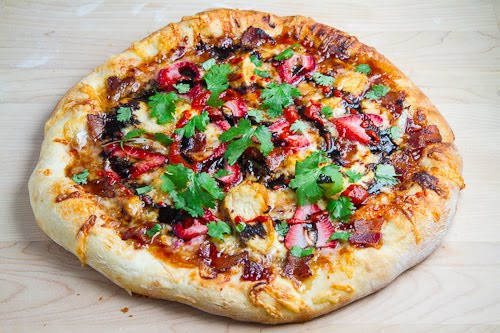 Balsamic Strawberry, Onion and Bacon Chicken Pizza - (Free Recipe below)