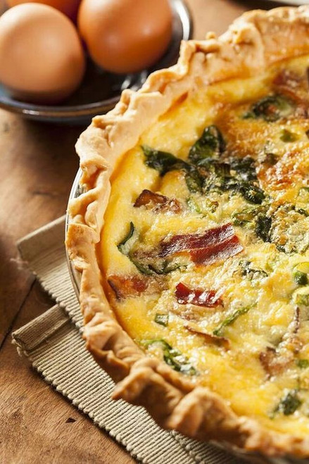 Swiss and Cheddar Quiche with Bacon - (Free Recipe below)
