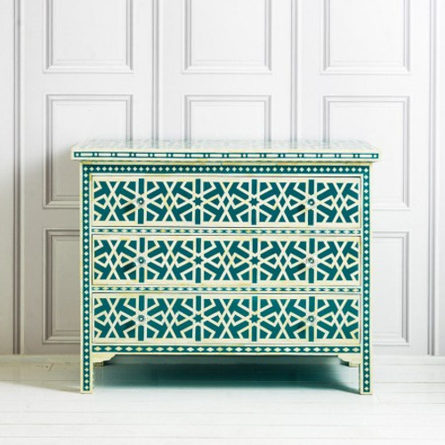 Elias Chest of Drawers in Peacock Blue