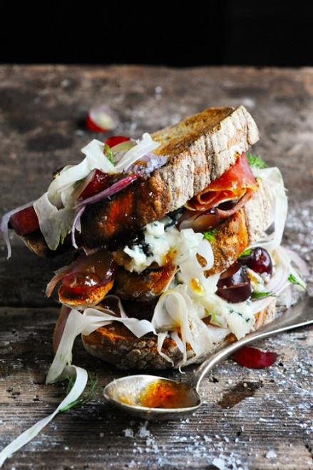 Roquefort, Ham, Fennel, Grape with Fig Sauce Sandwich - (Free Recipe below)