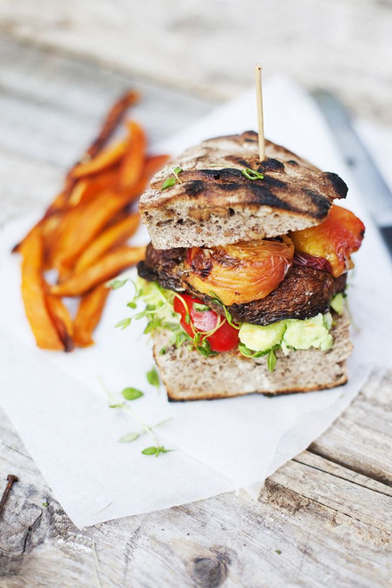 Portobello Peach Burger - (Free Recipe below)