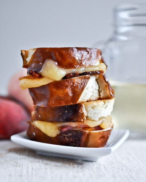 Peach, Bacon and Gouda Grilled Cheese Sliders on Pretzel Bread - (Free Recipe below)