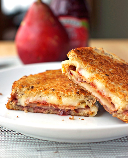 Bacon, Pear, and Raspberry Grilled Cheese - (Free Recipe below)