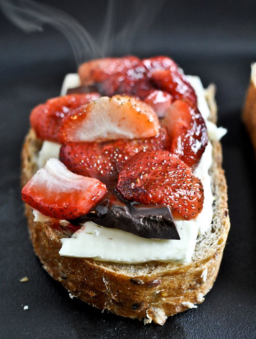 Roasted Strawberry, Brie and Chocolate Grilled Cheese - (Free Recipe below)