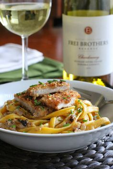 Pork Scaloppini in White Wine Sauce over Handmade Pumpkin Pasta - (Free Recipe below)