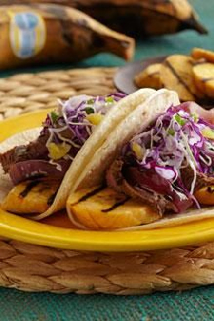 Plantains and Skirt Steak Tacos with Peppered Pineapple Slaw  - (Free Recipe below)