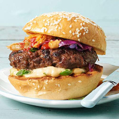 Spicy Kimchi Burger - (Free Recipe below)