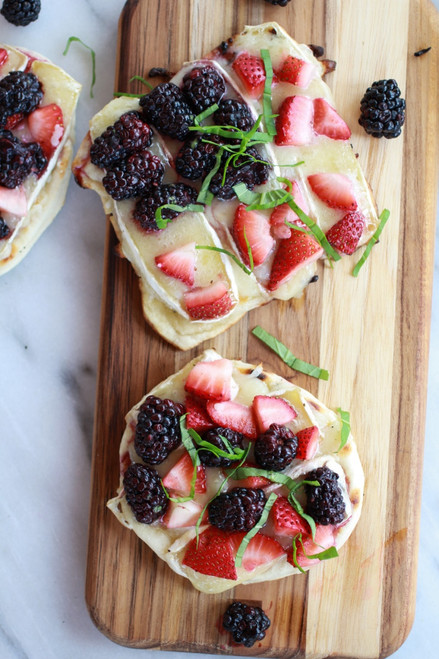 Grilled Blackberry, Strawberry, Basil and Brie Pizza Crisp with Honey Balsamic Glaze - (Free Recipe below)