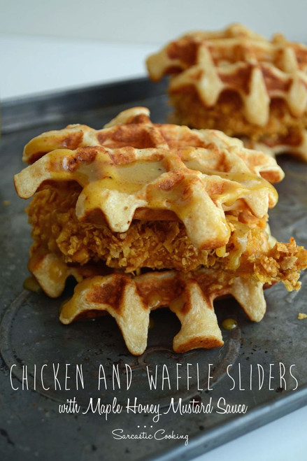 Chicken and Waffles with Maple Syrup Mustard Sliders - (Free Recipe below)