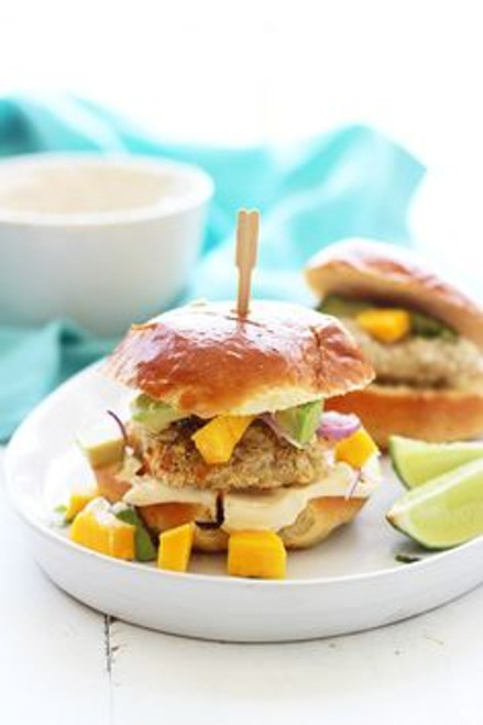 Coconut Crusted Mahi Mahi Sliders with Avocado, Mango and Lime Aioli - (Free Recipe below)