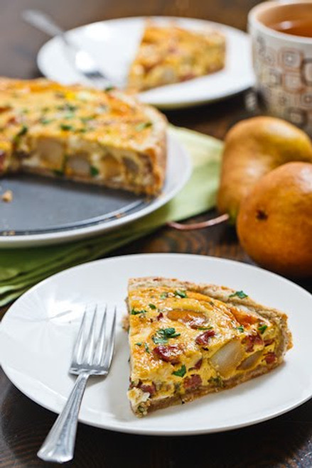 Caramelized Pear and Gorgonzola Quiche - (Free Recipe below)