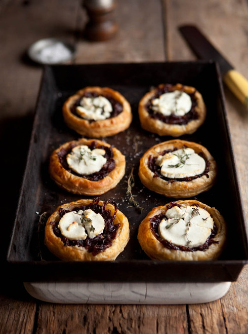 Red Wine Caramelized Onions and  Goat Cheese Tartlets - (Free Recipe below)