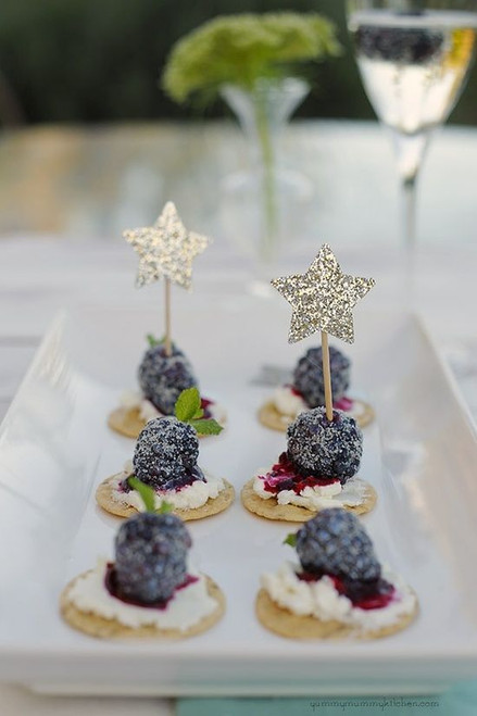 Glittery Stars Blackberry Goat Cheese Crackers - (Free Recipe below)