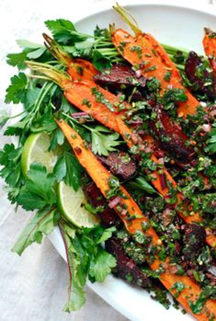 Roasted Beet and Carrot Salad with Beet Green Salsa Verde - (Free Recipe below)