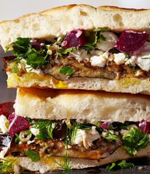 Roasted Eggplant and Pickled Beet Sandwiches - (Free Recipe below)