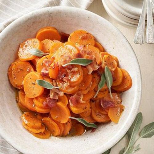 Orange-Sage Sweet Potatoes with Bacon - (Free Recipe below)